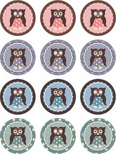 FREE printable owl cupcake toppers by Laine Design: Freebies