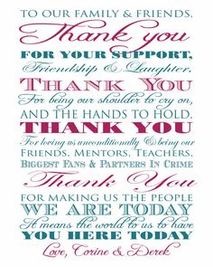Thank You Wedding Sign Anniversary Reception by ParraclanDesigns