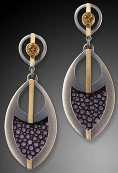 Stingray Feather earrings - Megan Clark (Hand fabricated earrings using sterling silver and 18k gold with stingray leather as the inlay. Hand finished using a natural patina.)