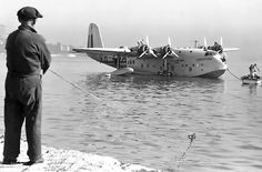 Short Empire (or: 'C-') Class flying boat VH-ABA (c/n: of QANTAS Empire Airways (a joint venture entity with Imperial Airways Ltd), at rest upon the waters of Sydney Harbour at Rose Bay, circa Qantas Airlines, Best Airlines, Flying Ship, Flying Boat, Amphibious Aircraft, Ww2 Aircraft, Short Sunderland, Sea Planes, Commercial Plane