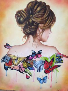 woman with a messy bun, colourful butterflies, fun and easy things to draw, white background Girly Drawings, Art Drawings Sketches Simple, Pencil Art Drawings, Easy Drawings, Cartoon Kunst, Cartoon Art, Murciano Art, Camera Art, Art Drawings Beautiful