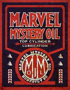 vintag marvel, marvel mysteri, oil sign, garag, vintage signs, metal signs, vintag sign