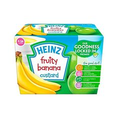 Heinz Fruity Custard Fruit Medley Mths 4 x - Pack of 6 Baby Food 8 Months, 6 Month Baby Food, Baby Food By Age, 6 Months, Baby Food For Constipation, Foods That Cause Constipation, Baby Food Jar Crafts, Baby Food Jars, Baby Food Mill