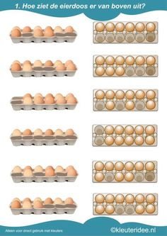 Hoe ziet de eierdoos er van boven uit 1, kleuteridee.nl , rekenen met kleuters, how is the egg carton from above, free printable.