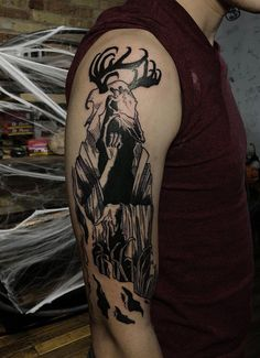 Wendigo done by Maxwell Lacroix at Empire Inks in Appleton Wisconsin Cernunnos, Tattoos And Piercings, Arm Band Tattoo, Wisconsin Tattoos, Tattoo Sketches, Inks, Wendigo, Tattoo Designs, Scandinavian Tattoo