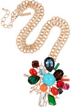 Oscar de la Renta  24-karat gold-plated crystal necklace