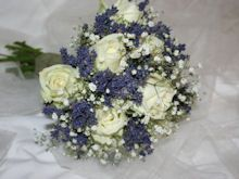 Bridal bouquet ivory roses, lavender and baby's breath