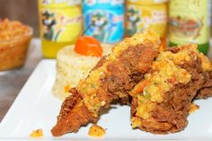Jamaican Jerk Fried Chicken w/ Mango Chutney
