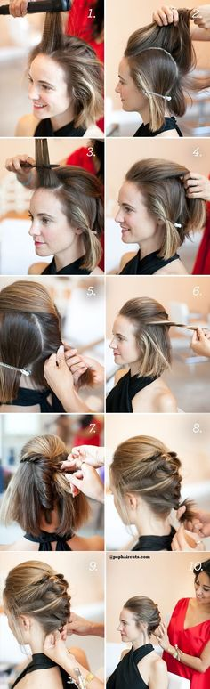 Updo Hairstyle twisted-ponytail-updo-short-hair-tutorial - Short hair updos, easy hairstyles for short tresses; updo hacks, tips, tricks tutorials perfect for prom, holiday season; Prom Hairstyles For Short Hair, Braided Hairstyles Updo, Girl Short Hair, Diy Hairstyles, Pretty Hairstyles, Wedding Hairstyles, Bun Hairstyle, Simple Hairstyles, Summer Hairstyles