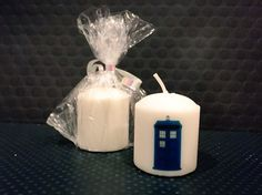 A personal favorite from my Etsy shop https://www.etsy.com/listing/268490596/tardis-hand-decorated-custom-candle