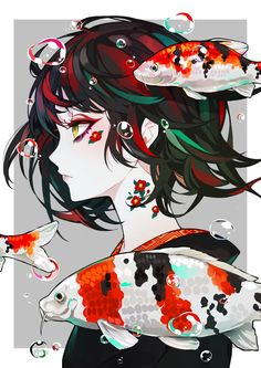 Art | illustration | koi art | manga style | minimalist | side profile | drawing | Eyes | pale