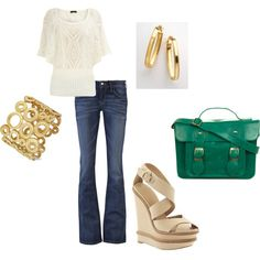 Love the gold accessories and pop of color w/ the bag :)