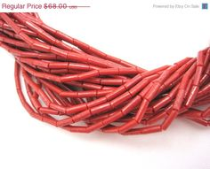 SALE Vintage Red Coral Beaded Necklace  Multi by VintageInBloom, $54.40
