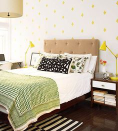Stamped Wall // an easy an inexpensive way to make a big impact in a room