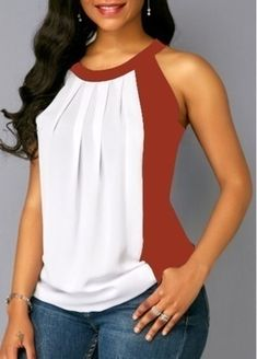 Plus Size Summer Women Casual Off Shoulder T-shirt Contrast Color Patchwork Chiffon Sleeveless Blouse Color Block Tank Top Mode Outfits, Casual Outfits, Fashion Essay, Off Shoulder T Shirt, Sewing Blouses, Trendy Tops, Sleeveless Blouse, Blouse Neck, Blouse Designs