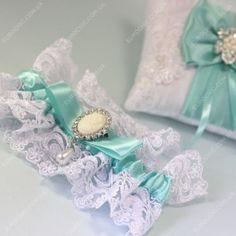 Свадебная подвязка невесты Мятная классика