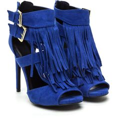 Fave Fringe Strappy Peep-Toe Heels ($34) ❤ liked on Polyvore featuring shoes, pumps, peep toe shoes, fringe shoes, strappy shoes, peeptoe pumps and peeptoe shoes