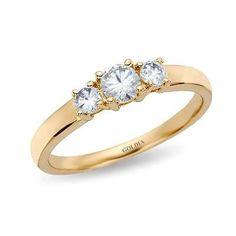 Diamond Engagement Rings : 1/2 ct. Round Cut Diamond Yellow Gold Three-stone Engagement Ring