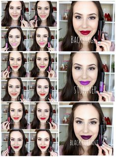 LA Girl Flat Finish Matte Pigment Gloss lip swatches. Dreamy, Fantasy, Iconic, Playful, Bazaar, Timeless, Fleur, Instinct, Obsess, Frisky, Rebel, Secret, Backstage, Stunner and Black Currant.