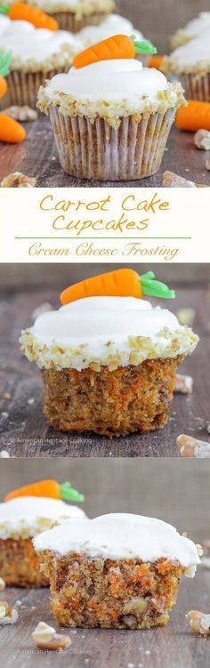 These are the moistest, most delicious Carrot Cake Cupcakes | A recipe I learned in culinary school that my husband said were the best ever! Perfect for Easter celebrations! #americanheritagecooking #cupcakerecipe #carrotcake #carrotcakecupcake