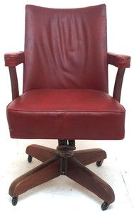 Antique Art Deco Leather Swivel fice Chair Retro Vintage Industrial Furniture