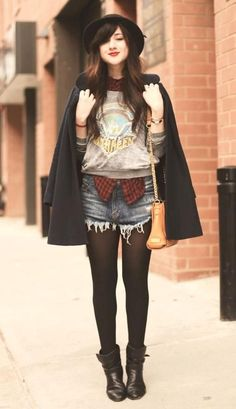 Sweatshirt Street Style -- I'll definitely wear this to a museum or music performance ... can't get into the denim cutoffs though, I'm 33 and a size 12! Maybe a slightly above-knee circle skirt will fit ... the possibilities ... Behlor