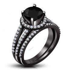 Classy Design Full 14K Black Gold Plated 925 Silver Bridal Engagement Ring Set #Bacio2jewel