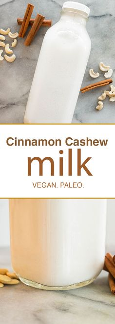 Easy, delicious, 2 ingredient homemade cinnamon cashew milk that doesn't require any straining. #vegan #glutenfree #nutmilk
