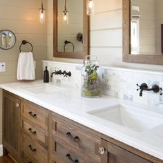 «Love this bathroom!! I want my next bathroom redo to have faucets coming out of the wall!  Source: @houzz»