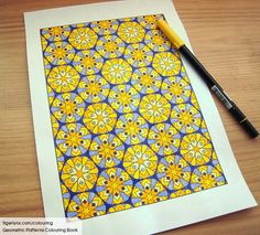 Coloured page from the Geometric Patterns Colouring Book by Tigerlynx, which is available from Amazon. See more at http://www.tigerlynx.com/colouring/geometric-patterns-colouring-book/ #coloring #colouring #adultcoloring #adultcolouring #pattern #geometric #coloringbook #yellow #abstract