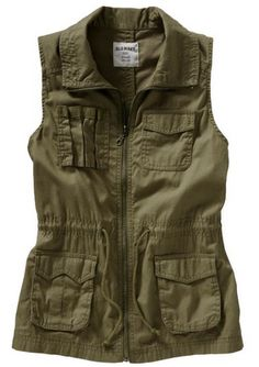 Military green cargo vest.
