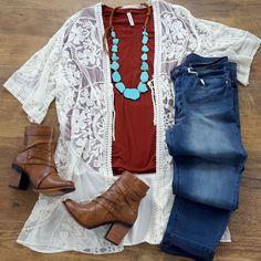 Get Closer Ivory Lace Kimono – Plus Size Collection Lace Kimono Outfit, White Lace Kimono, Boho Kimono, Kimono Fashion, Fashion Outfits, Womens Fashion, Woman Outfits, Mom Fashion, Plus Size Kleidung