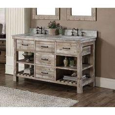 Infurniture Rustic Style 60-inch Double Sink Bathroom Vanity (60 Matte Ash Grey Limestone Top Vanity, no faucet), Size Double Vanities