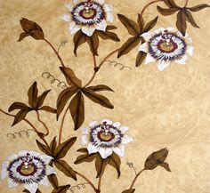 Marquetry Passion Flower Wall Panel Detail of passion flower design applied to dressing room wardrobe doors.  Coloured anegre veneers on a bleached burr ash background.