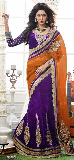 USD 89.62 Orange Georgette and Purple Velvet Wedding Lehenga Saree 42467