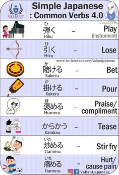 Valiant Japanese: Common verbs 4