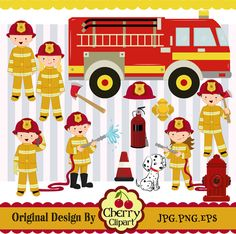 Firefighter KidsFirefighter design by Cherryclipart on Etsy, $4.50