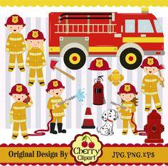 Firefighter KidsFirefighter design by Cherryclipart on Etsy, $4.50