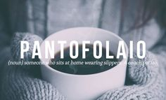 PANTOFOLAIO (noun) someone who sits at home wearing slippers. A couch potato.