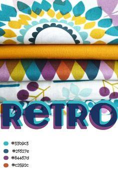 Retro colour palette with web design colour reference. Retro Color Palette, Colour Pallete, Colour Schemes, Retro Colours, Web Design Color, Retro Design, Retro Fabric, Printing On Fabric, Print Patterns
