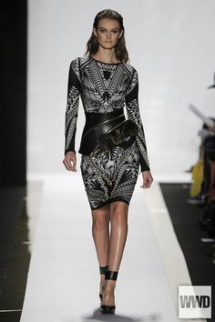 Hervé Léger by Max Azria RTW Spring 2014  Max and Lubov Azria looked past the bandage dress this season by incorporating hard-edged elements with artful ones to mostly good results.