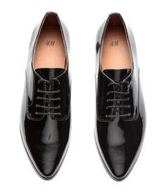 Patent Derby Shoes   Black   Ladies   H&M US