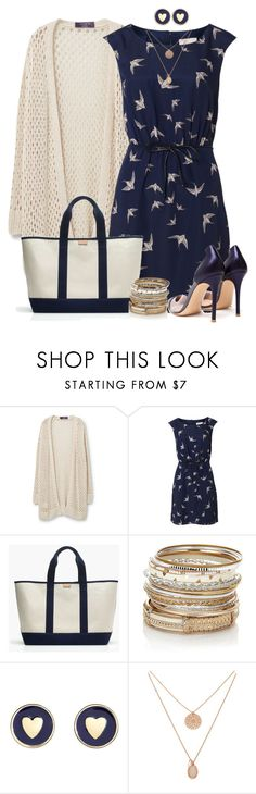 """Bird Print Dress"" by angelysty ❤ liked on Polyvore featuring Violeta by Mango, Poem, J.Crew, Accessorize, Brooks Brothers, Forever 21 and Gianvito Rossi"