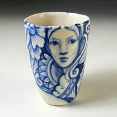 Blue and white hand painted porcelain cup with by PSPorcelain, $24.00
