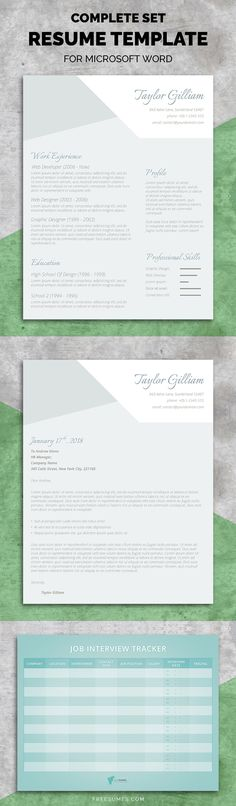 Modern Resume Template Two Page Cover by ModernResumeStudio CV - resume form