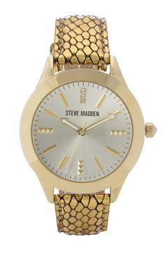 Steve Madden Metallic Leather Watch