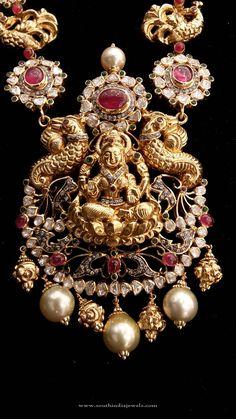 Temple Lakshmi Pendant Designs, Temple Lakshmi Pendant Models, Gold Temple Lakshmi Pendant Collections.