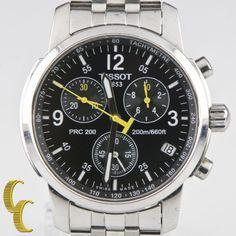 Tissot Men's Stainless Steel PRC 200 Chronograph Quartz Watch w/ Black Dial T461 #Tissot #Sport