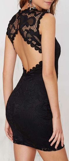 Open Back Lace Dress #lbd