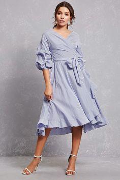 FOREVER 21+ Ruffled Wrap Shirt Dress